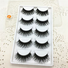 New 5Pairs Black&Green Cross Long False Eyelashes Thick Extension Makeup Tools06