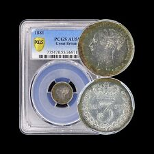 1881 Great Britain 3 Pence (Silver) - PCGS AU55 - Only 2 Higher!! Rainbow Toning