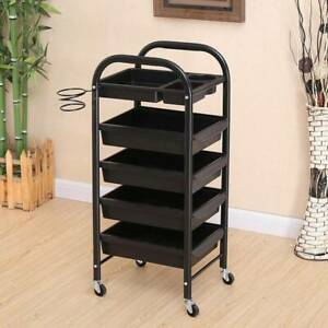 Salon Spa Hairdresser Barber 5 Layer Drawers Beauty Rolling Storage Cart Trolley