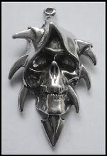 PEWTER CHARM #1230 GRIM REAPER HEAD 1 BAIL (46mm x 29mm)