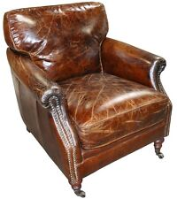 """Set of three 28"""" W club arm chair vintage brown cigar leather great comfort"""