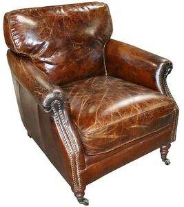 "28"" W club arm chair vintage brown cigar distressed leather great comfort"