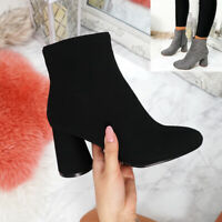WOMENS LADIES ZIP HEEL ANKLE BOOTS HIGH BLOCK HEELS WINTER FASHION SHOES SIZE