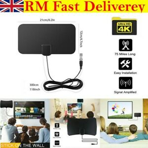 HDTV Digital TV Antenna Indoor Aerial HD Freeview Signal Thin 100 Mile UK New