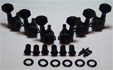 Guitar Parts Thumbwheel Lock - LOCKING - 3 Per Side 3x3 - TUNERS SET - BLACK