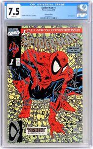 S266. SPIDER-MAN #1 Marvel CGC 7.5 VF- (1990) PLATINUM EDITION; McFARLANE Cover