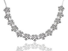 Silver Tone Flower Cluster Rhinestone Accented Antique  Necklace Clr