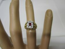 STUNNING ESTATE 18 KT GOLD VIVID RED RUBY AND DIAMOND RING 5 GRAMS !!!!!!!