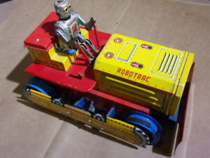 Vintage Battery Tin Toy LINEMAR Robotrac Bulldozer with Robot Space Driver