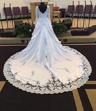 Mon Cheri Wedding Dress David Butera Cathedral Train Bustle Ready Sz 20w
