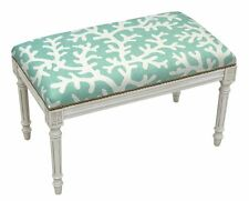 Benches - Coral Sea Upholstered Bench - Vanity Bench - Aqua Blue Linen Seat