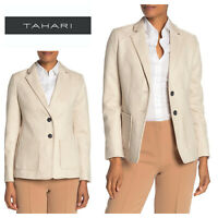 🆕TAHARI Women's Faux Suede Blazer SZ 4 Cream Lined Two-Button Career Jacket🆕