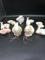 2 BISQUE  EASTER ORNAMENTAL BUNNIES 6 GLASS BUNNY EGG HOLDERS 1 GLASS BUNNY
