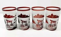 Vintage Mid Century Cranberry Frosted Etched Rocks Glasses Asian Pagoda RARE 4