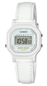 Casio LA11WL-7A, Women's Digital Watch, White Leather Strap, Alarm