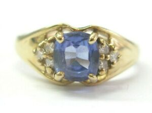 Cushion Tanzanite & Diamond Ring Solid 14KT Yellow Gold 1.07Ct AAAA-VS SIZEABLE