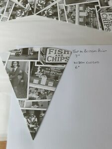 Newsprint Chip Cones, Retro Design, Takeaway, Fish and Chips, Party free p&p