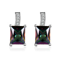 18K Gold Plated Zirconia Square Dangle Stud Earrings Fashion Women Jewelry Gifts