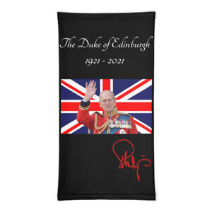 Prince Philip Duke of Edinburgh Black Neck Gaiter Face Cover Scarf Bandana