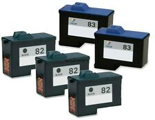 5 Pack #82 #83 Black/Color Ink Cartridges for Lexmark X5150 X6150 X6170 X6180