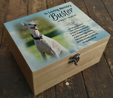 Wooden Pet Urn Dog Box Cremation Ashes Casket & headstone tile Whippet dog