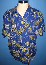 Vtg Pacific Teaze Poly Loud Bright Blue Floral Hawaiian Camp Shirt L Mint