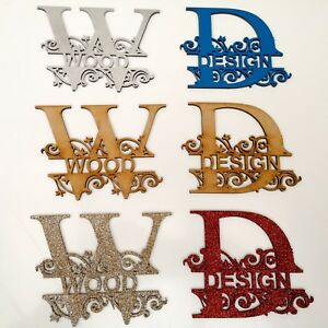 Monogram Letters Personalised  Craft Color Acrylic MDF  Glitter Painted