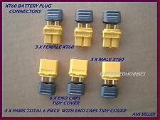 TURNIGY XT60 BATTERY CONNECTOR PLUG WITH END CAPS ACCUCEL 6 EC3 DEANS IMAX B6AC