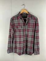 Faded Glory Mens Vintage Long Sleeve Button Up Shirt Size Medium Grey Check
