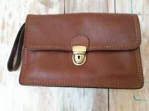 Mens Wrist Bag Brown Italian Leather