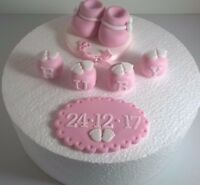 Edible Sugarpaste BABY BOOTIES ,PLAQUE and NAME Cake Topper BIRTHDAY CHRISTENING