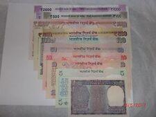 INDIA PAPER MONEY-10 NOTES-'M.K GANDHI'-RS:2000,1000,500X2,100,50,20,10,5,1#E15