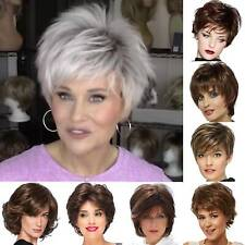 Cosplay Women Short Pixie Cut Hair White Gray Silver Straight Synthetic Wigs