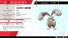 Pokemon EXCAVARENNE shiny 6IV + masterball - Battle Ready - Epée/Bouclier