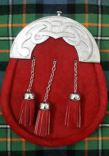 Homme Kilt Sporran Costume Complet Rouge Bovine Cantle Celtique Chrome / Cuir