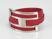 Authentic Hermes Red Leather and Silvertone Pousse Pousse Bracelet #23985