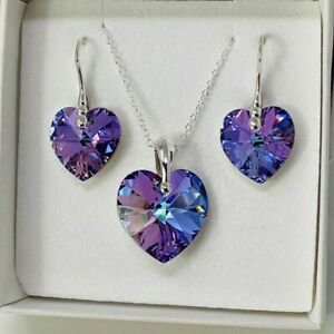 925 Silver Heart Necklace Earring Vitrail Set Made With Swarovski® Crystal