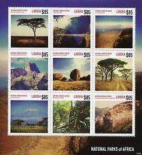 Liberia 2014 MNH National Parks of Africa 9v M/S Serengeti Kilimanjaro Matopos