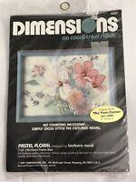 Pastel Floral No Count Cross Stitch Kit #6507 Vtg 1987 Dimension Sealed