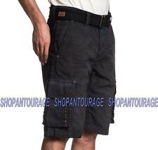 Affliction Optimal 110WS166 New Black Fashion Cargo Shorts For Men (Belt Incld.)