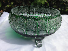 """VINTAGE BOHEMIA EMERALD GREEN QUEEN LACE CRYSTAL ROUND FOOTED BOWL 10"""" NIB"""