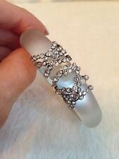 ALEXIS BITTAR Silver Tone WHITE LUCITE Crystal Encrusted Orbiting Hinge Bracelet