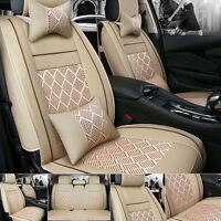Car Seat Cover PU Leather+Ice Silk 5 Seats Cushion Front+Rear Set Beige W/Pillow
