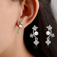 Women Ladies Girls Elegant 925 Sterling Silver Zircon Clover Ear Stud Earrings