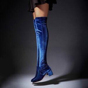 AQUAZZURA Essence 50 Velvet Over-the-Knee Boots 39.5 9.5 $867