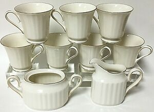 Mikasa Petite Fluted Gold Bone China Teacups (7) With Creamer Sugar Bowl L9811