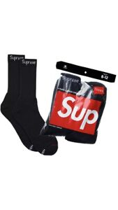 Supreme / Hanes Crew Socks Black 4 Pack Sealed SS19 Authentic