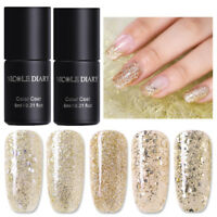 5 Bottles 6ml NICOLE DIARY Soak Off UV Gellack Champagner Gold Laser Nail Polish