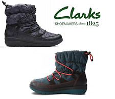 Clarks Cabrini Alp padded warm winter ankle boots black / teal Cloudsteppers 7.5