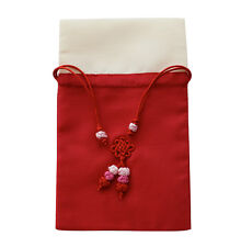 silk jewellery pouch with drawstring, travel pouch, red & beige